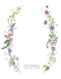 Watercolor summer wreath of wildflowers Botanical colorful illustration - 220380010