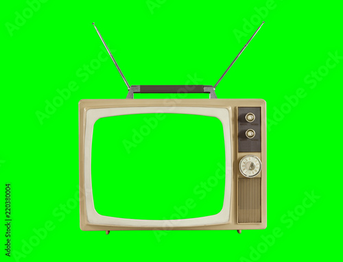 1960s Television with Antennas and Chroma Green Background and Screen - 220380004