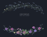 Watercolor summer wreath of wildflowers Botanical colorful illustration - 220380267