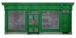 canvas print picture - Laden mit grünem Eingangsbereich in Holz freigestellt auf weißem Hintergrund