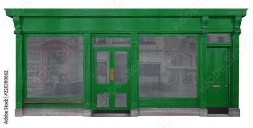 canvas print picture Laden mit grünem Eingangsbereich in Holz freigestellt auf weißem Hintergrund