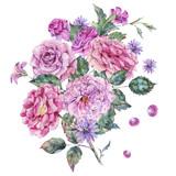 Decorative vintage watercolor pink roses Botanical colorful illustration - 220381606