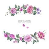 Decorative vintage watercolor pink roses wreath Botanical colorful illustration - 220381867