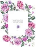 Decorative vintage watercolor pink roses vertical frame - 220382055