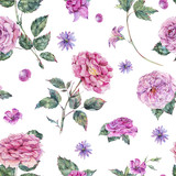 Watercolor decorative vintage pink roses seamless pattern - 220382230