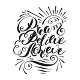 Dream, believe, achieve. Handwritten lettering. Vector illustration - 220393463
