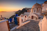Thira, Santorini. Image of famous village Thira located at one of Cyclades island of Santorini, South Aegean, Greece. - 220395891