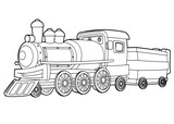 Cartoon funny looking steam train - vector coloring page - isolated - illustration for children - 220404824