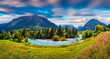 Colorful summer panorama of the Triglav mountain range