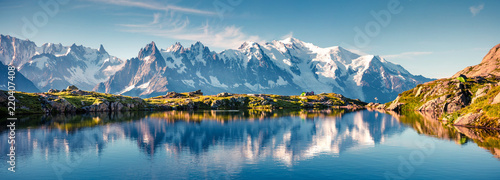 Colorful summer panorama of the Lac Blanc lake with Mont Blanc (Monte Bianco) on background © jojjik