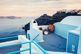 Misty morning view of Santorini island. Picturesque spring scene of the  famous Greek resort Thira, Greece, Europe. Traveling concept background. - 220411015