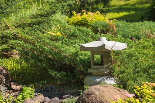 Asian Stone Lantern For Garden In Park. Environment, Landscape Design, Garden  Decor Theme