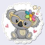 Cute Koala girl in yellow eyeglasses