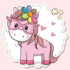 Cute Horse girl in pink eyeglasses