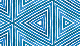 Blue Geometric Watercolor. Cute Seamless Pattern. Hand Drawn Stripes. Brush Texture. Immaculate Chev - 220416273
