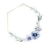 Watercolor geometric frame for card, wedding, greeting, invitation. Hand drawn illustration - 220423416