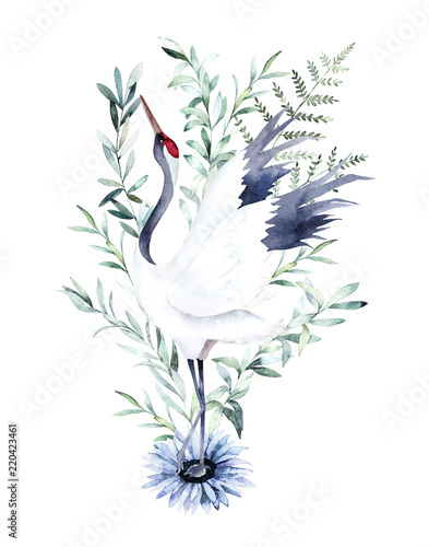 Watercolor print with crane of eucalyptus branch. Japanese style. Hand drawn illustration © natikka