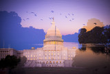Abstract, multiple-exposure image of US Capitol Building and view down The Mall to the Washington Monument at sunset - 220426053