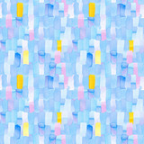 Seamless pattern with abstract geometric figures. Watercolor vertical stripes merge smoothly into one pattern, blue, yellow and violet colors. - 220433684