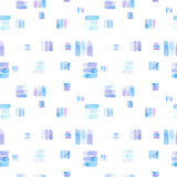 Seamless pattern with abstract geometric figures. Watercolor line-spots in the tiled pattern,  chaotic order, blue and violet colors. - 220433836