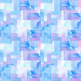 Seamless pattern with abstract geometric figures.  Watercolor line-spots merge smoothly into one  blue and violet  pattern. - 220433856