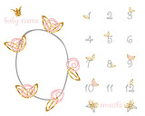 Baby milestone fashion blanket with gold glitter floral elements. Vector hand drawn illustration. - 220434021