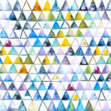 Seamless pattern with abstract geometric triangles. Watercolor spots, shapes, beautiful paint stains like cosmic nebula. Background for parties, holidays, birthdays. - 220434063