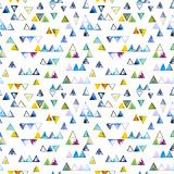Seamless pattern with abstract geometric triangles. Watercolor spots, shapes, beautiful paint stains like cosmic nebula. Background for parties, holidays, birthdays. - 220434091