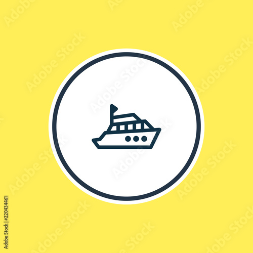Vector illustration of yacht icon line. Beautiful transport element also can be used as boat icon element.