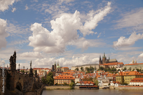 Czech capital during a beautiful, sunny day with a sky filled with spectacular clouds. Prague.