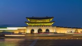 Timelapse of Gyeongbokgung palace at night in Seoul, South Korea. - 220469698