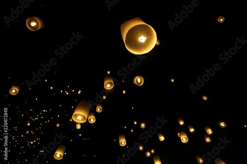 Chiang Mai,Thailand-November 14, 2016: Floating lanterns or Khom Loy at Chiang Mai Loy Krathong Festival
