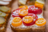 healthy sandwiches on wooden table macro - 220478266