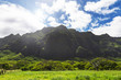Kualoa mountain range view, famous filming location on Oahu island, Hawaii