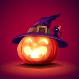Halloween pumpkin. Jack O Lantern Pumpkin with witch hat. - 220483623