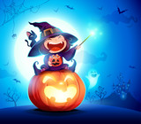 Halloween little witch. Girl kid in Halloween costume sits on a giant pumpkin. Magic wand and candies on hand.  - 220483804