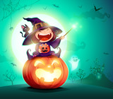 Halloween little witch. Girl kid in Halloween costume sits on a giant pumpkin. Magic wand and candies on hand.  - 220483818