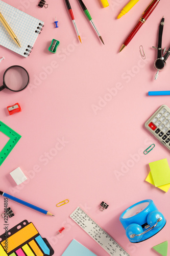 school accessories at abstract background - 220484885