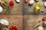food ingredients and spices at wooden table - 220485414