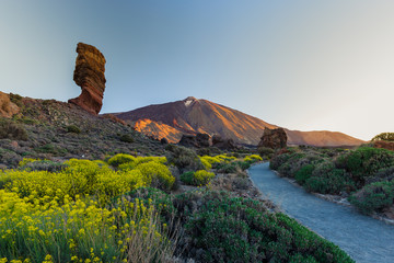 View of unique Roques de Garcia unique rock formation with famous Pico del Teide mountain volcano summit in the background on a sunny morning. Teide National Park, Tenerife, Canary Islands, Spain.