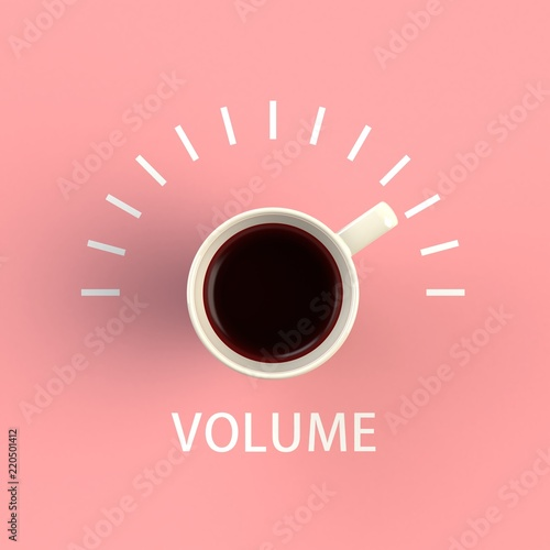 Top View Of A Cup Coffee In The Form Volume Control Isolated On Pink