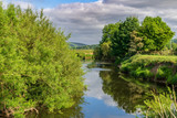 Landscape near Skipton, with the River Aire, North Yorkshire, England, UK - 220503656