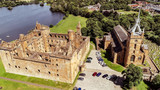 Aerial view of Linlithgow Abbey and the ruins of Linlithgow Palace. - 220508089