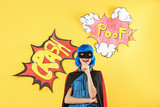 Cute girl as superhero on color background - 220537095