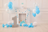 First birthday. Decorations for holiday party. A lot of balloons.  - 220537661