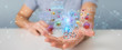 Leinwanddruck Bild - Businessman analyzing bacteria microscopic close-up 3D rendering