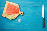 salmon fillet on a cutting board food background flat lay - 220547607