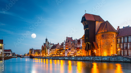 mata magnetyczna Harbor at Motlawa river with old town of Gdansk in Poland