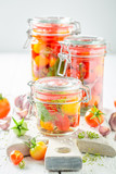 Preparation for fresh pickled red tomatoes in summer - 220553256