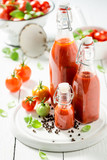 Fresh ingredients for ketchup made of tomatoes - 220553617